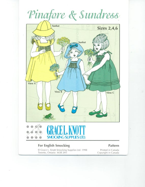 Pinafore & Sundress Grace L. Knott Sewing Pattern, smocking, heirloom,gathered, pleated.