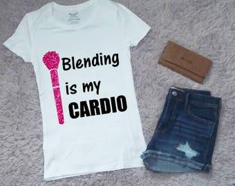 Blending is my Cardio Glitter T-Shirt, Women's Graphic Tee, Women's Shirt, Vinyl Printed Tee, Personalize, Customizable