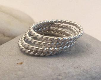Sterling Silver Rope Rings, Size 5 1/2, Stacking Rings, Thumb Ring, Midi Ring, Boho Ring