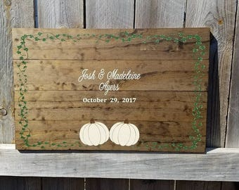 Winter Wedding Guestbook - Pumpkin Guestbook - Fall Wedding Guestbook - Wedding Guestbook - Wooden Guestbook - Rustic Wedding Guestbook