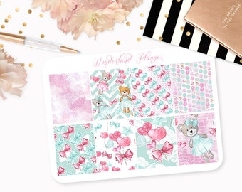 Teddy Bears - Love Heart Themed Planner Stickers // Full Box Designs // Perfect for Erin Condren Vertical Life Planner