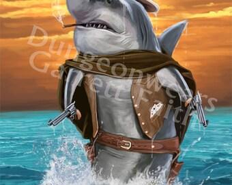 Cowboy Shark Art Print