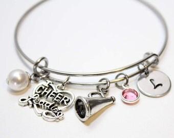 cheer bracelet, cheer jewelry, cheerleader bracelet, cheerleader initial bracelet, cheer jewelry, cheer charm bracelet, cheer theme jewelry