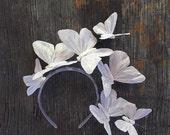 Iridescent Moon Butterfly Crown, White Butterfly Headpiece, Fascinator, Headband, Headdress, Wedding, Tiara