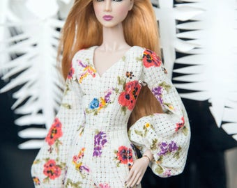 "poppies Jumpsuit for Fashion royalty , nuface, poppy parker , barbie silkstone , fashion doll 12"" same size"