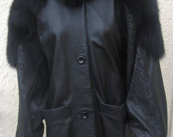 Leather and fur vintage MADNESS jacket size 40/42 uk 12/14 us 8/10