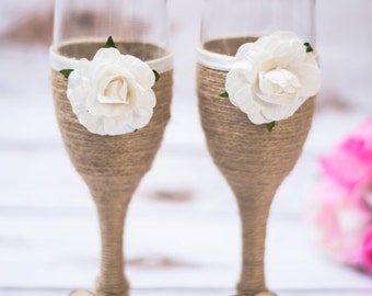 Rustic Wedding Champagne Glasses White Burlap Toasting Flutes Mr and Mrs Champagne Glasses