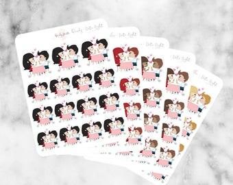 J15 Date Night Stickers, Character Stickers, Planner Stickers, Planner Girl Stickers, Date Sticker, Romance sticker, Dinner Sticker,Reminder