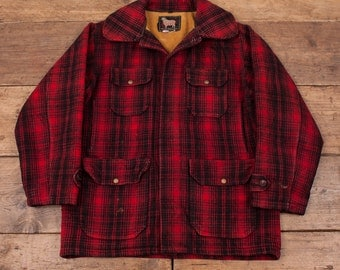 "Mens Vintage 1950's Woolrich Wool Red Plaid Hunting Jacket Coat Size L 44"" R3687"