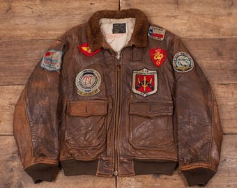 """Mens Vintage Avirex G1 Patched Korea Flight Jacket Fur Collar Brown 46"""" L R5452"""