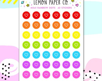 M041 Rainbow Dots // Planner Stickers