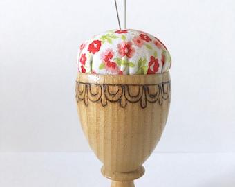 Pincushion, Handmade Pincushion, Eggcup Pincushion, Teacup Pincushion, Mini Pincushion, Wood, Floral, Red, Pink, Coral, Flowers