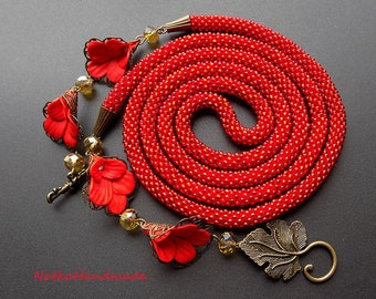Beaded Lariat Beaded Necklace red necklace red lariat Beadwork Necklace seed bead Necklace flowers Beaded crochet rope long Beaded rope