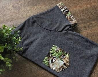 Raccoon Unisex T-Shirt Pocket & Sleeves