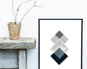 Modern Print, Grey Geometric Wall Art, Scandinavian Art, Mid Century Modern,  Abstract Art Print, Giclee print, Wall Art,  Wall Decor