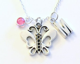 Butterfly Necklace, Insect Jewelry for Little Girl, Butter fly Silver charm Customized Bug Teenager Teen Women Woman Birthday Present her