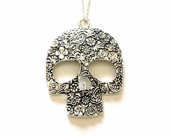 Large Skull Necklace, Mexican Sugar Skull Jewelry, Silver Charm Pendant Gift Present Long Short Chain Calavera Mexico Catrina Statement girl