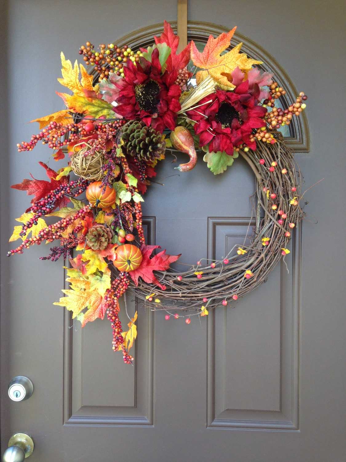 Fall Wreath For Front Door Thanksgiving Wreath Sunflower
