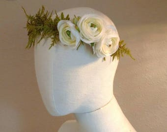 Ranunculus forest wreath - flower crown - bridal crown *Reduced price*