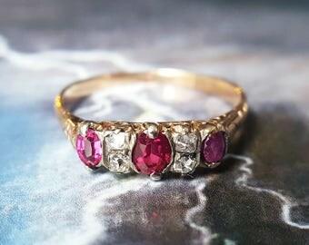Ruby Engagement Ring  Edwardian Engagement Ring   Antique Engagement Ring   Victorian Ruby Ring   Victorian Engagement Ring   Ruby Stacking