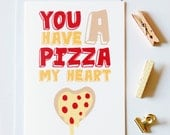 You Have A Pizza My Heart Greeting Card, long distance boyfriend gift, boyfriend gift, long distance boyfriend card