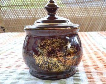 Vintage Pottery Sugar Bowl Brown with gold motif Made in Japan
