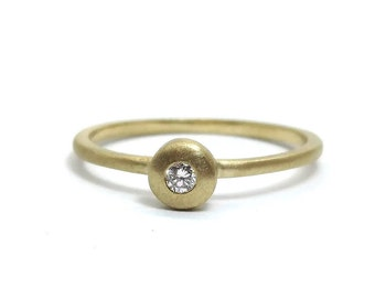Diamond Engagement Minimalist Ring ~ Simple Engagement Diamond Ring ~ Thin Gold Diamond Ring