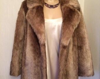 Vintage 90s Brown/Lightbrown Faux Fur Coat/Jacket
