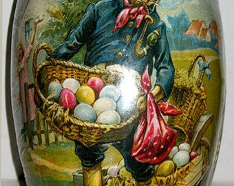 """Vintage Paper Mache Easter Egg (4.5""""x3"""") STOIC HARE Mint/Sealed Hand Made in Germany"""