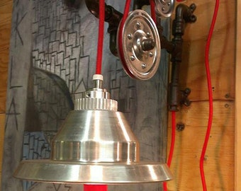 Wall lamp - industrial look light fixture with pulleys and wire-red lamp with pulleys and wire - vintage - industrial lig red
