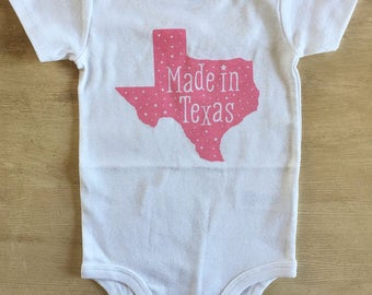MADE IN TEXAS (The Stars at Night are Big and Bright!) Baby Clothing Bodysuit Onesie Screen Printed