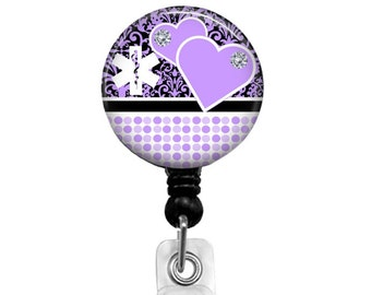 Purple Heart Badge Reel for Nurses, Retractable Name Badge Holder for RN CNA Lvn and Nurse Navigators, Stethoscope Name Tag, 422C