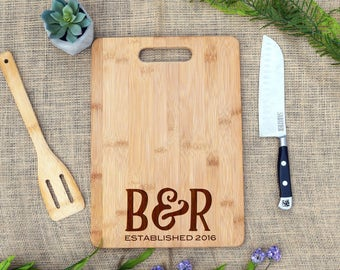 Personalize Cutting Board, Initials & Established Date, Custom, Cheese Board, Wedding, Bridal Shower, Wedding Shower, Engagement, Engraved
