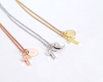Cross initial necklace, silver cross necklace, gold cross necklace, woman cross necklace, crucific necklace, christian necklace, cross