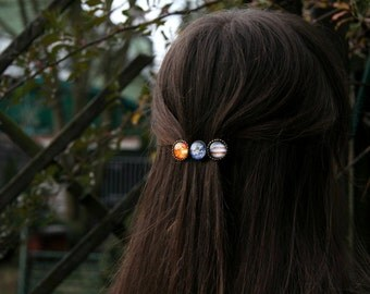 Planet barrette, hair clip with planets, solar system barrette, solar system jewelry, solar system hairclip, jupiter hair clip