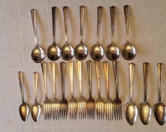 21 victor & company - hotel mayfair antique flatware pieces a1+ triple overlay silverplate i.s. international silver - spoons forks - ware