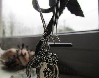 Parrot earrings , Kidney wire earrings , Silver plated earrings , Charm earrings , Pirate earrings , Dangle earrings , Gifts for her