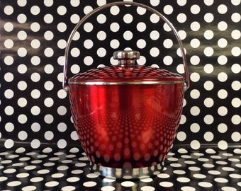 Hott Ice~Red/Chrome~Ice Bucket~Red Plastic~Stainless Steel~Vintage Bar