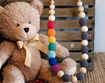 Rainbow&Rain - Nursing necklace - Teething Necklace - Crochet Necklace