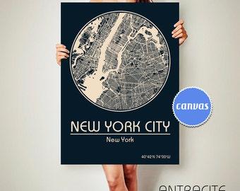 NEW YORK City ny CANVAS Map New York City ny Poster City Map New York City ny Art Print New York City ny