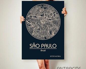 São Paulo Brazil CANVAS Map São Paulo  Brazil Poster City Map São Paulo Brazil Art Print São Paulo Brazil