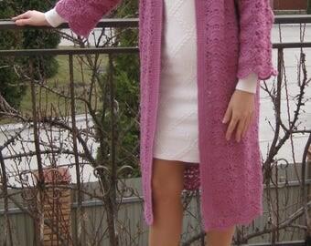 Cardigan Coat Jacket M/L Handmade Knit Crochet Merino Wool