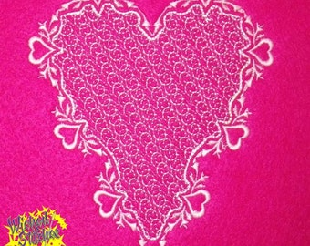 Fancy Heart, Mylar Applique' Optional Machine Embroidery Design