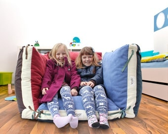 Kids large floor pillows cover, bean bag pillow, upholstery / waterproof fabric 27x27x4 inches (main cover + inner liner, NO beans filling)