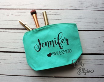 Aqua Canvas Cosmetic bag - Bridesmaid gift - Personalized