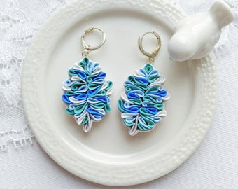 Blue and white Feather earrings, polymer clay Feather, Feather jewelry, Feather Earrings silver, Blue bird Feather