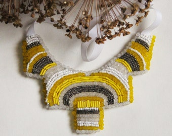 African Ethno beaded embroidery necklace summer yellow and white hand made jewelry from Ukraine