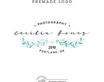 Floral Watercolor Logo design, Premade Floral Logo, Calligraphic Logo, Feminine Branding, Premade Logo Design, Elegant Logo and watermark