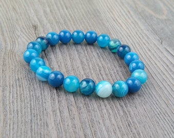Bracelet stones agate blue 8mm