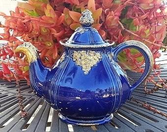 Vintage Hall Cobalt Teapot, Hall Cobalt and Gilt Teapot designer J. Palin Thaley, Hall Teapot 1950 to 1968,  Number 1043